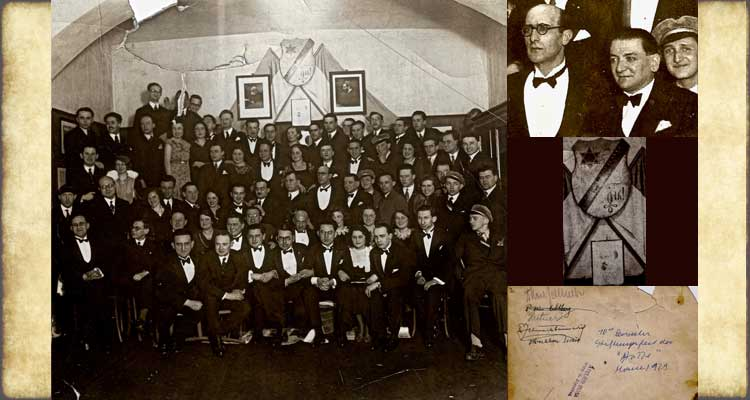 "LEFT: March 1929, Group photo of members of the Zionist and Jewish cultural fraternity ""Die Lese - und Redehalle jüdischer Hochschüler in Wien"" (The Reading and Lecture Hall [Association] of Jewish [University] Students in Vienna) at the 70th Semester Commemoration/Celebration of its Founding."